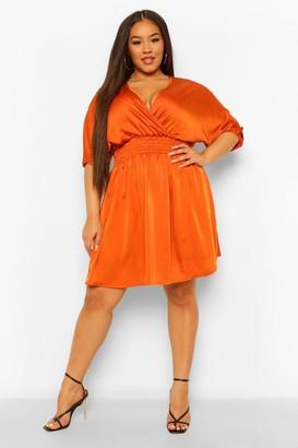 boohoo Plus Satin Shirred Waist Wrap Skater Dress