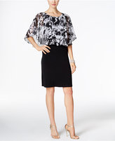 Connected Printed Cape Overlay Sheath Dress