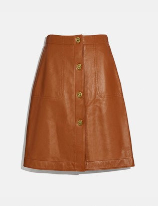 Coach Leather Skirt With Turnlocks