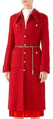 Gucci Women's Point Collar Tweed Coat