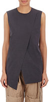 Acne Studios Women's Cotton Poplin Layered-Slit Top-BLACK, GREY