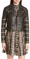 Alice + Olivia Women's Cody Embellished Leather Moto Jacket
