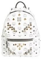 MCM 'Small Stark - Visetos' Studded Backpack - White