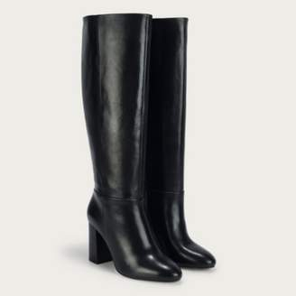 The White Company Leather Long Knee Length Boots, Black, 38