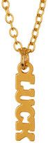 Kris Nations 14K Gold Plated Luck Script Charm Necklace