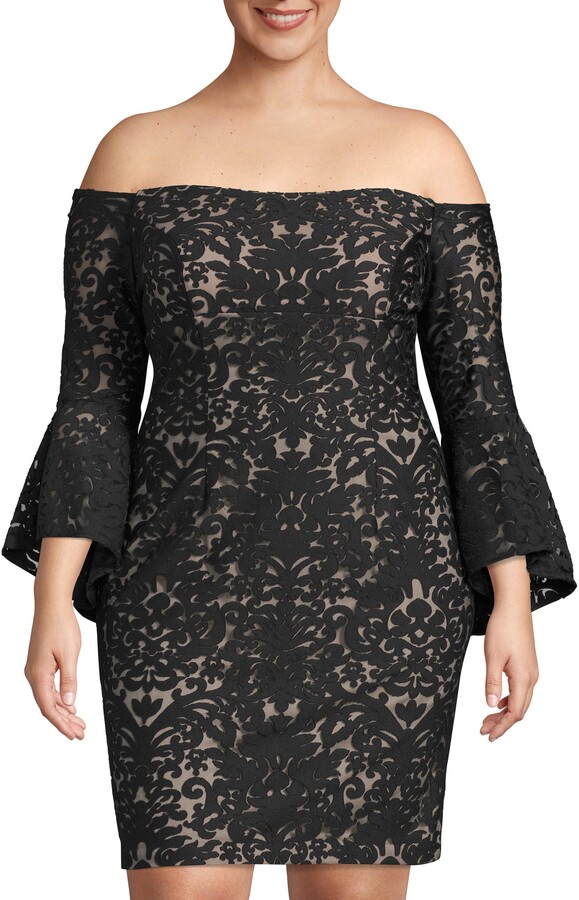 Xscape Evenings Bell Sleeve Off the Shoulder Burnout Lace Dress