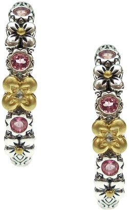 Barbara Bixby Sterling & 18K Floral Hoop Gemstone Earrings