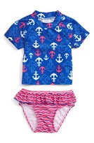 Infant Girl's Sol Swim Nautical Splash Two-Piece Rashguard Swimsuit