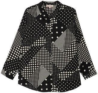 Philosophy di Lorenzo Serafini Polka Dot Button Front Satin Shirt (Plus Size)