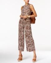MICHAEL Michael Kors Petite Cropped Leopard-Print Jumpsuit