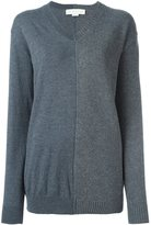 Stella McCartney contrast panel v-neck jumper - women - Cashmere/Wool/Virgin Wool - 42