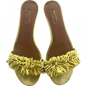 Aquazzura Wild Thing Yellow Suede Sandals