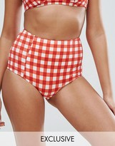 Monki Gingham Highwaist Bikini Briefs