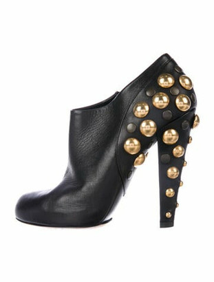 Gucci Leather Studded Accents Lace-Up Boots Black