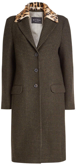 Etro Wool Coat with Leopard Printed Collar