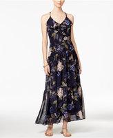 MSK Chiffon Floral-Print Ruffle Maxi Dress