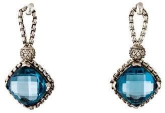 David Yurman Blue Topaz & Diamond Cushion On Point Earrings