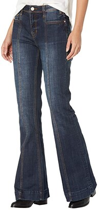 Rock and Roll Cowgirl High-Rise Trousers with Front Center Seam Detail in Dark Wash W8H6099 (Dark Wash) Women's Jeans