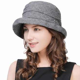 Cloche Fancet Womens 35% Wool Felt Derby Gatsby Hat 1920s Fedora Vintage Winter Bucket Fall Bowler Beret Grey 56-58cm