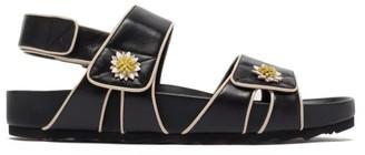 Fabrizio Viti Berkley Floral-applique Leather Sandals - Black