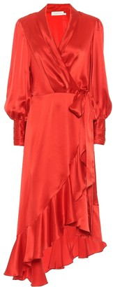 Zimmermann Silk satin wrap dress