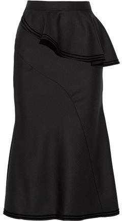Givenchy Skirt In Velvet-Trimmed Black Wool
