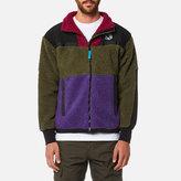 Billionaire Boys Club Panelled Sherpa Fleece Zip Through Jacket Green/purple/red