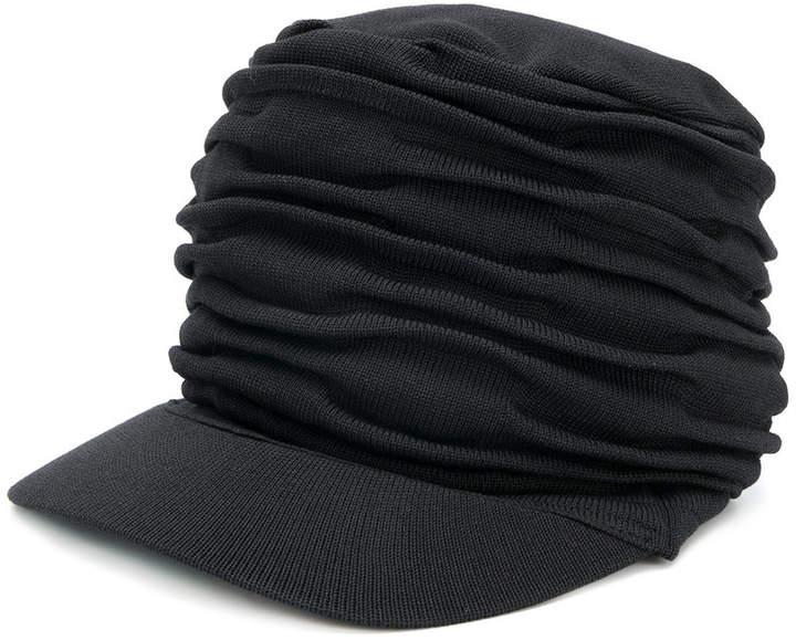 Yohji Yamamoto ruched effect hat