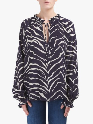 Lily & Lionel Florence Animal Print Top, Tiger Navy