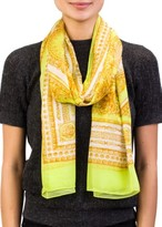 Versace Women's Baroque Pattern Modal Cashmere Blend Scarf Yellow Large