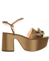 Rochas Crystal-embellished satin flatform sandals
