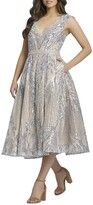 Thumbnail for your product : Mac Duggal V-Neck Sequin Damask Midi Dress