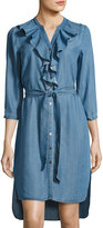 Neiman Marcus Ruffled Long-Sleeve Chambray Shirtdress, Medium Blue