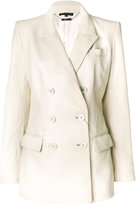 Alexander McQueen double breasted jacket - women - Silk/Lamb Skin - 40