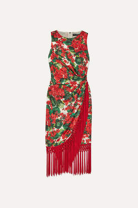 Dolce & Gabbana Tasseled Floral-print Silk-blend Faille Dress - Red