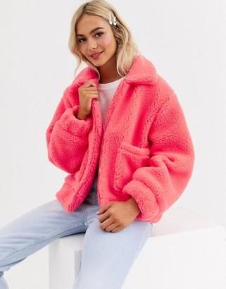 Brave Soul tallie jacket in bright borg