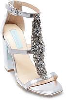 Betsey Johnson Lydia Embellished Metallic T-Strap Sandals