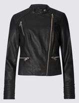 Marks and Spencer Faux Leather Collarless Jacket