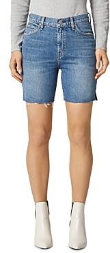 Hudson Hanna Frayed Denim Biker Shorts in Underpass