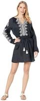 Tory Burch Swimwear Embroidered Linen Dress Cover-Up (Black) Women's Swimwear