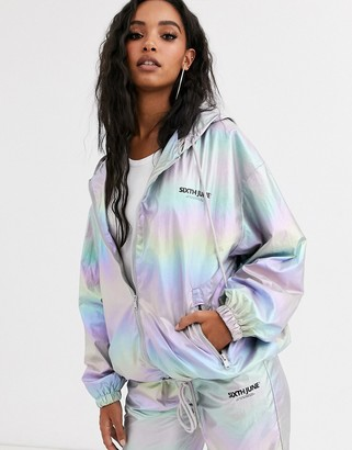 Sixth June oversized tracksuit top in metallic rainbow co-ord