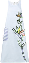 Mira Mikati flower embroidered striped midi dress - women - Cotton/Viscose - 32