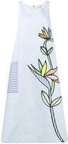 Mira Mikati flower embroidered striped midi dress - women - Cotton/Viscose - 38
