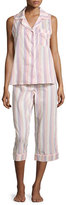 BedHead Cabana Striped Cropped Pajama Set, Coral Stripe
