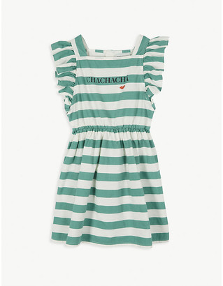 Bobo Choses Striped frilled sleeve cotton dress 4-11 years