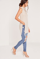 Missguided Ribbed High Neck Split Side Tunic Nude