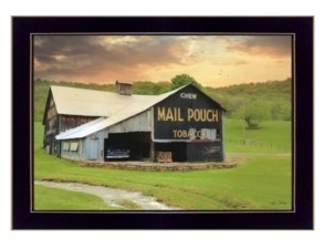 "Trendy Décor 4U Mail Pouch Barn By Lori Deiter, Printed Wall Art, Ready to hang, Black Frame, 20"" x 14"""