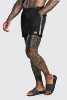 boohoo Mens Black Mid Length Swim Short With MAN Branded Tape & Badge, Black