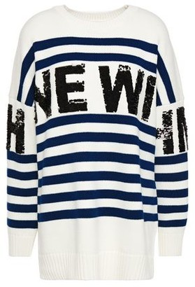 Maje Mystica Sequin-embellished Striped Intarsia-knit Sweater