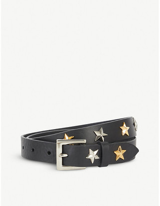 BLACK AND BROWN Star-embellished leather belt